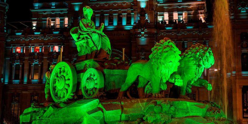 Plaza de Cibeles en St. Patrick's Day